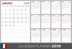 French calendar 2019. French calendar planner 2019, week starts on Monday, set of 12 months January - December, calendar template size A4, simple design on white vector illustration