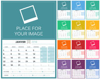 French Calendar 2018. French planning calendar 2018, set of 12 months January - December, week starts on Monday, colorful calendar template, vector illustration Stock Photos