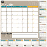 French Calendar 2017. French planning calendar 2017, week starts on Monday, vector illustration Royalty Free Stock Photos