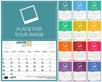 French Calendar 2017. French planning calendar 2017, week starts on Monday, vector illustration Royalty Free Stock Image