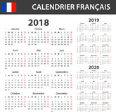 French Calendar for 2018, 2019 and 2020. Scheduler, agenda or diary template. Week starts on Monday Stock Photos