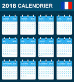 French Calendar for 2018. Scheduler, agenda or diary template. Week starts on Monday Stock Images