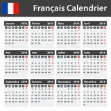 French Calendar for 2018. Scheduler, agenda or diary template. Week starts on Monday Stock Photography