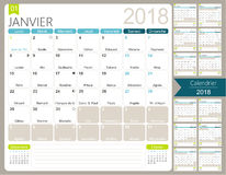 French calendar 2018. Calendar 2018, set of 12 months January - December, French printable monthly calendar template, including name days, lunar phases and Royalty Free Stock Photo