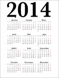 French Calendar 2014. Simple Calendar for year 2014 in French, easy editing Royalty Free Stock Photography