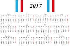 French Calendar 2017 Stock Photos