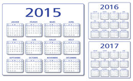 French Calendar 2015-2016-2017 vector. French Calendar 2015 2016 2017 illustration vector blue and grey With drop shadow. Compatible CS10 two layers vector illustration