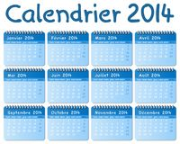 French calendar 2014. Vector illustration of a french calendar 2014 Stock Photos