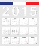 French 2015 calendar. French 2015 vector calendar with shadow angles. Week starts from Monday vector illustration