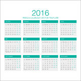 French Calendar Vector 2016. Vector Template of French Calendar 2016 year Royalty Free Stock Images
