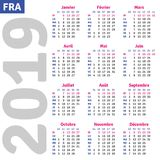French calendar 2019 Royalty Free Stock Images