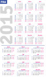 French calendar 2015 Royalty Free Stock Photography