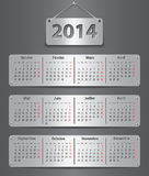 2014 French calendar. Calendar for 2014 year in French with attached metallic tablets. Vector illustration Stock Photos