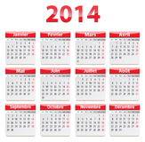 2014 French calendar. Calendar for 2014 year in French language. Vector illustration Stock Photo