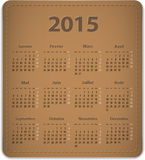 2015 French calendar. Calendar for 2015 year in French on leather background. Vector illustration stock illustration