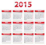 2015 French calendar. Calendar for 2015 year in French. Vector illustration vector illustration