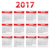 2017 French calendar. Calendar for 2017 year in French. Vector illustration Royalty Free Stock Photography