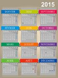 French calendar for year 2015 Royalty Free Stock Image