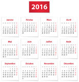 2016 French calendar Royalty Free Stock Photography