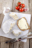 French camembert on white paper Royalty Free Stock Image