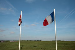 French and canadian flag in Vimy, france Royalty Free Stock Images