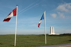 French and canadian flag in Vimy, france Royalty Free Stock Photos