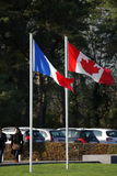 French and canadian flag in Vimy, france Stock Images