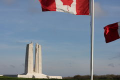 French and canadian flag in Vimy, france Stock Photo