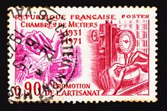 French canceled Postage Stamp Dedicated to the Forty Years` Anniversary of the French Chamber of Trades.  stock photos