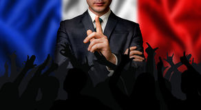 French candidate speaks to the people crowd. Election in France stock photo