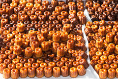 French canelé of Bordeaux. View of lots of French baked pastry from Bordeaux in France royalty free stock photos