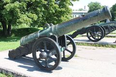 French cannon cast in 1626 by master Wilhelm Wegewart. Museum of artillery, engineering troops. St. Petersburg. stock photography