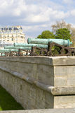 French cannon. Several long cannons aligned in the courtyard of the Invalides at Paris Royalty Free Stock Photos