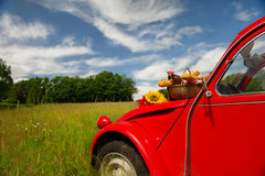 French car with bread and wine Stock Images