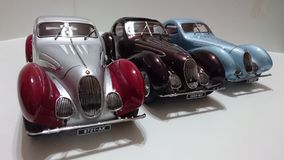 Talbot Lago model cars in display. French car producer created an iconic chassis silhouette called the teardrop for these historic interbelic cars stock image
