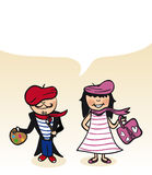 French cartoon couple bubble dialogue Stock Photo
