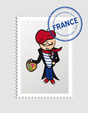 French cartoon person postal stamp Stock Images