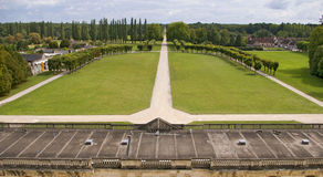 French castle chambord meadow. Meadow and lawn inner garden french castle chambord Stock Photo