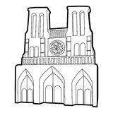 French castle icon, outline style Stock Photography
