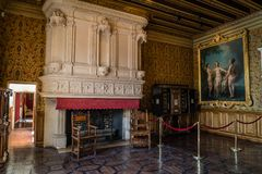 French castle in Loire valley living room and fireplace royalty free stock photo