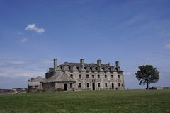 French Castle and a soldier at Fort Niagara royalty free stock photo