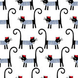 French cat seamless pattern. Cute cartoon parisian cat vector illustration. Royalty Free Stock Photography
