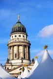 French Cathedral and Christmas market in Berlin Royalty Free Stock Images