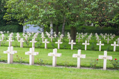 French cemetery from the First World War in Flanders belgium. Royalty Free Stock Photography