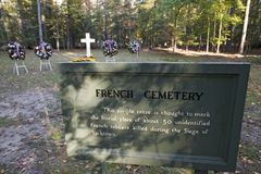 French Cemetery where 50 French soldiers who lost their lives in the Siege of Yorktown, 1781, are buried, Colonial National Histor. Ical Park, Historical Royalty Free Stock Photography