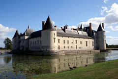 French Château Plessis-Bourre. Château Plessis-Bourre, with ducks at the edge of the moat, France, Europe Stock Photo