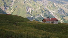 French chalet with surrounding moutains Royalty Free Stock Photography