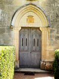 French Chapel Doors. Double doors in the chapel from Les Jardins de Marqueyssac in the Dordogne, France stock photography