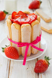 French charlotte. With fresh strawberries Royalty Free Stock Images