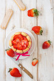 French charlotte. With fresh strawberries Stock Images